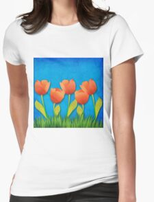 Grunge tulips Womens Fitted T-Shirt