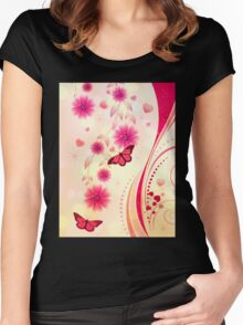Pink floral ornament Women's Fitted Scoop T-Shirt