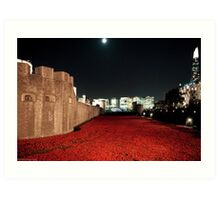 Poppies at theTower of London - At Night with the Shard. Art Print