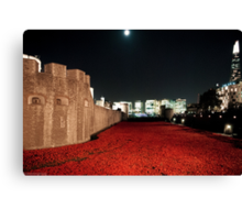 Poppies at theTower of London - At Night with the Shard. Canvas Print