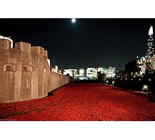 Poppies at theTower of London - At Night with the Shard. Photographic Print