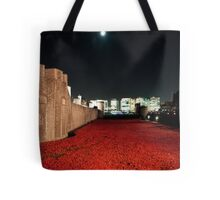 Poppies at theTower of London - At Night with the Shard. Tote Bag