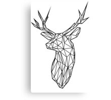 Black Wire Faceted Stag Trophy Head Canvas Print