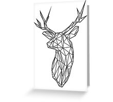 Black Wire Faceted Stag Trophy Head Greeting Card