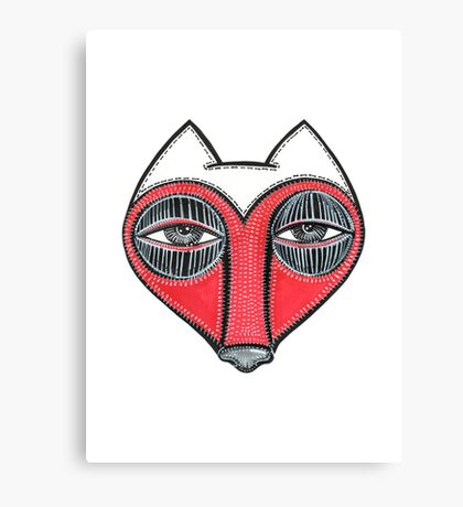 fox face heart Canvas Print