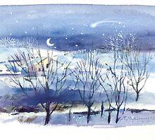 Winter night by Monika Malinowska