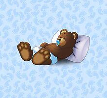 Sleeping Ted - Blue by ifourdezign