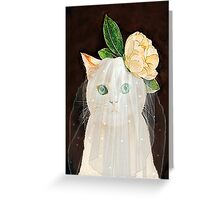 The Bride Cat Art Greeting Card