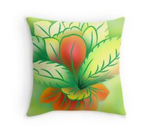 Green Healthy Living Flower Abstract Throw Pillow