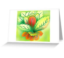 Green Healthy Living Flower Abstract Greeting Card