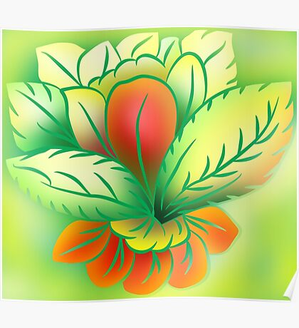 Green Healthy Living Flower Abstract Poster