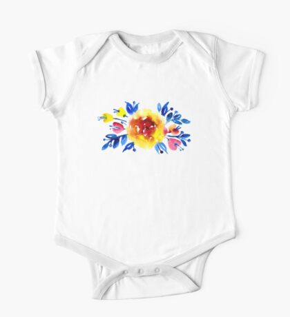 Feminine bouquet of yellow roses and blue leaves One Piece - Short Sleeve