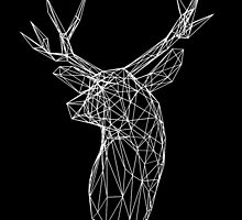 3D White Wire Stag Trophy Head by dotsan
