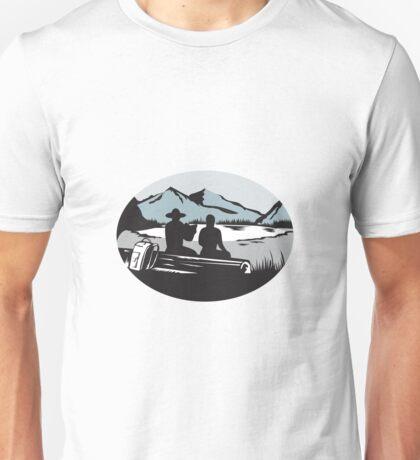 Two Trampers Sitting on Log Lake Mountain Oval Woodcut Unisex T-Shirt