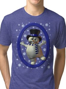 Happy Snowman, tee shirt Tri-blend T-Shirt
