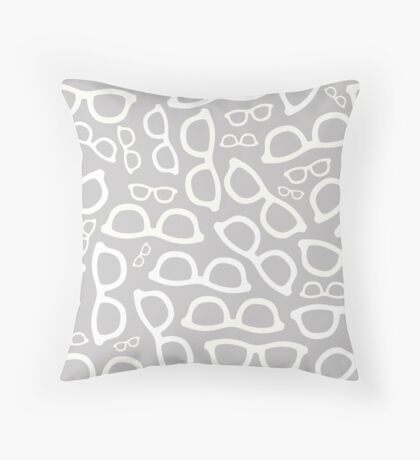 Grey Smart Glasses Pattern Throw Pillow
