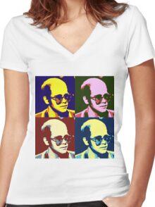 Elton Pop Art Abstraction Women's Fitted V-Neck T-Shirt