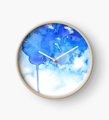 Blue Watercolor Paint Drips Clock