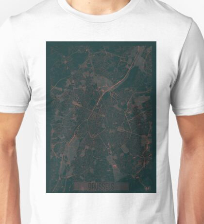 Brussels Map Red Unisex T-Shirt