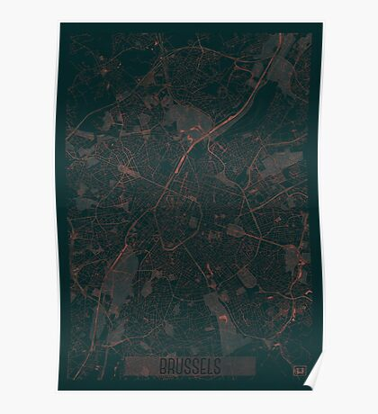 Brussels Map Red Poster