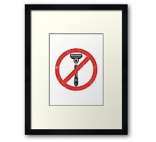 Beard Only - No Shaving Allowed Epic Beards Distressed Design Framed Print