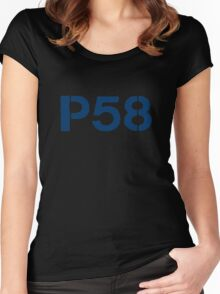P58 - LOGO BLUE ON WHITE OR LIGHT Women's Fitted Scoop T-Shirt