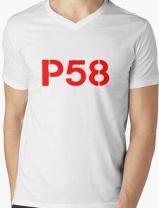P58 - LOGO RED ON WHITE OR LIGHT Mens V-Neck T-Shirt