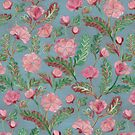 Soft Smudgy Pink and Green Floral Pattern by micklyn