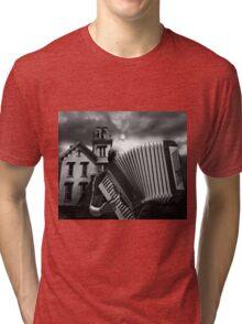 Accordian Blues Man Tri-blend T-Shirt