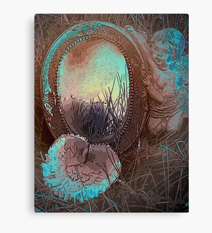 Toadstool and cherub card size Canvas Print