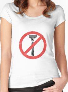 Beard Only - No Shaving Allowed Epic Beards Distressed Design Women's Fitted Scoop T-Shirt