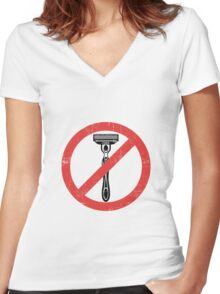 Beard Only - No Shaving Allowed Epic Beards Distressed Design Women's Fitted V-Neck T-Shirt