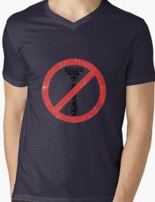 Beard Only - No Shaving Allowed Epic Beards Distressed Design Mens V-Neck T-Shirt