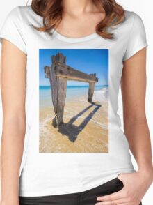 The Old Cattle Jetty, Observation Point, Point Nepean, Mornington Peninsula, Victoria, Australia. Women's Fitted Scoop T-Shirt