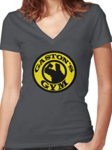 Gaston's Gym Women's Fitted V-Neck T-Shirt