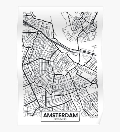 Vector poster map city Amsterdam Poster