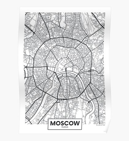 Vector poster map city Moscow Poster