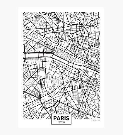 Vector poster map city Paris Photographic Print