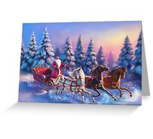 Happy New Year Three-Horses Greeting Card