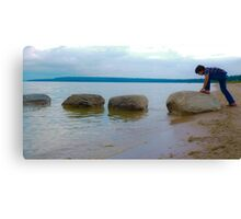 Rock Crawling Boy Canvas Print