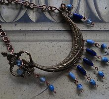 Blue Beaded Ship - Wall Jewellery by Marie Van Schie