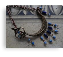 Blue Beaded Ship - Wall Jewellery Canvas Print