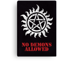 Supernatural - No Demons Allowed [WHITE] Canvas Print