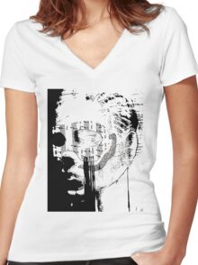masked face Women's Fitted V-Neck T-Shirt