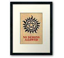 Supernatural No Demons Allowed [BLACK] Framed Print