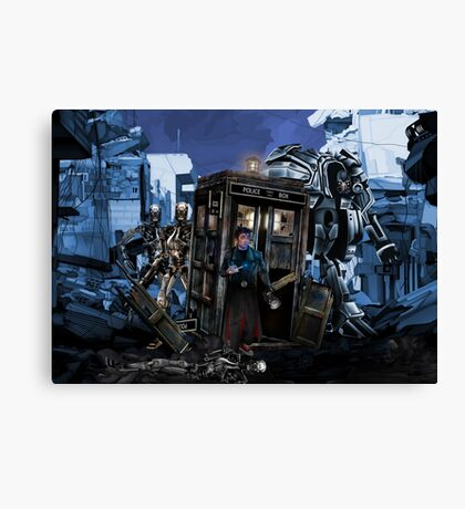 time and space traveller lost in the cyborg war zone Canvas Print
