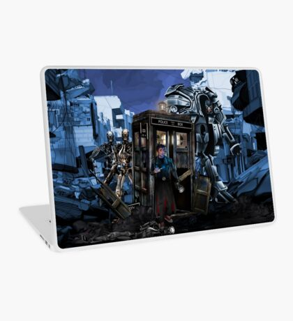 time and space traveller lost in the cyborg war zone Laptop Skin