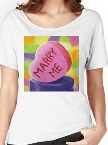 Marry Me Candy Hearts Heart Colorful Candies Valentines Day Sweetheart Love Lover Girlfriend Wife Fun Happy Women's Relaxed Fit T-Shirt
