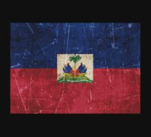 Vintage Aged and Scratched Haitian Flag Kids Clothes