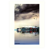 A SURFACING AT SANTA CATALINA Art Print